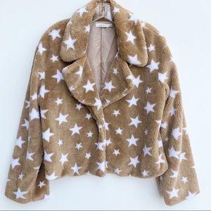 LUSH Fuzzy Brown Star Print Jacket NWOT